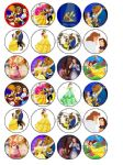24 x Beauty and the Beast Edible Wafer Paper Cup Cake Toppers